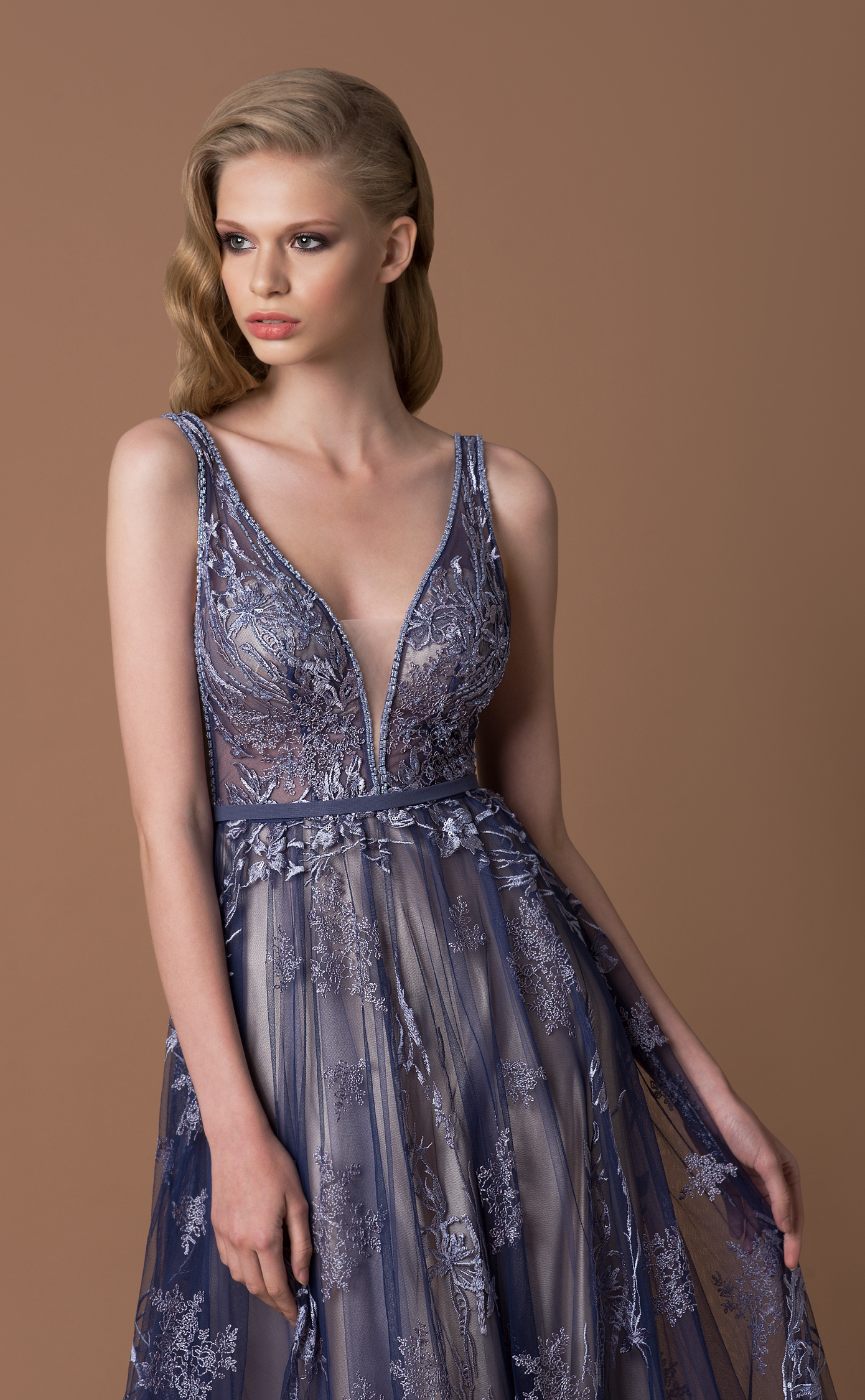 9b71fde926f8 Home / The Prom Gallery / Bridesmaid / Gino Cerruti Long Tulle Prom or  Bridesmaid Dress – 7027B Silver Blue